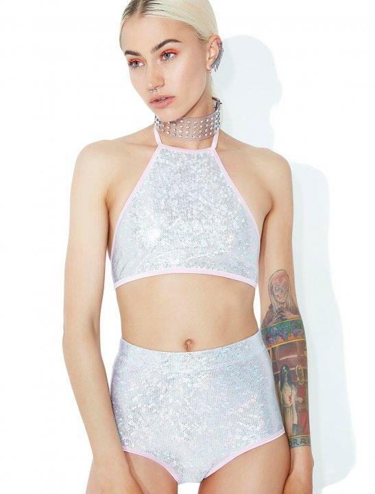 Iridescent Crop Top Clothing Club Exx
