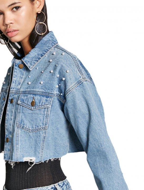 Distressed Cropped Denim Jacket - Meghan Trainor