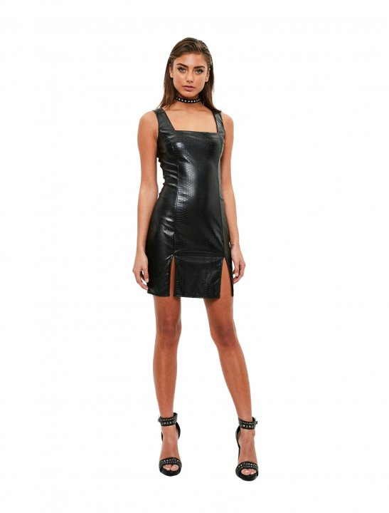 Missguided Leather Bodycon Dress Clothing Missguided