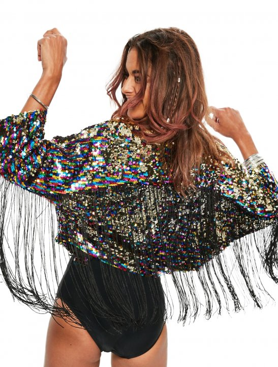 Missguided Sequin Fringe Jacket Clothing Missguided