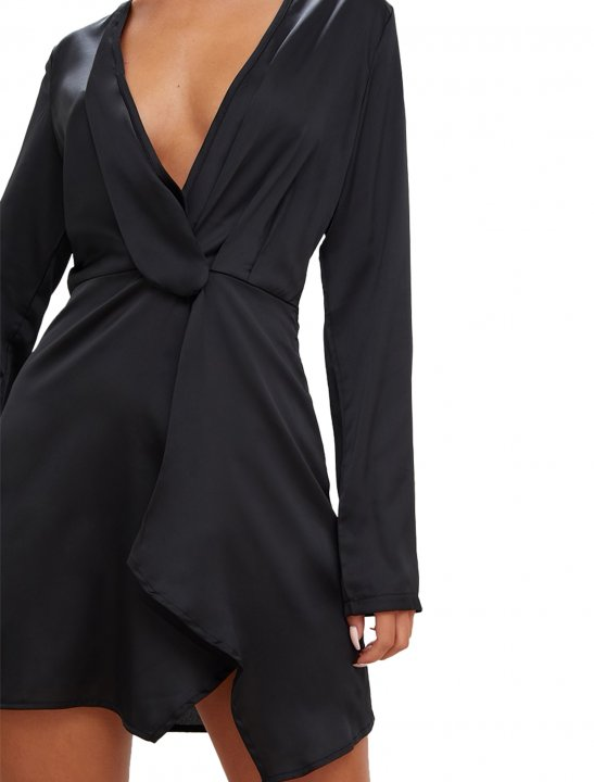 Long Sleeve Wrap Dress Clothing Pretty Little Thing