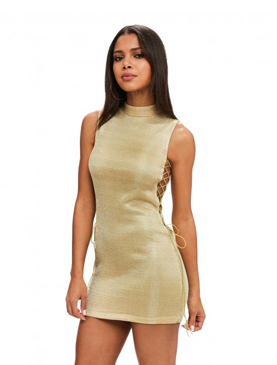 Missguided Bodycon Lace Up Dress - Enrique Iglesias