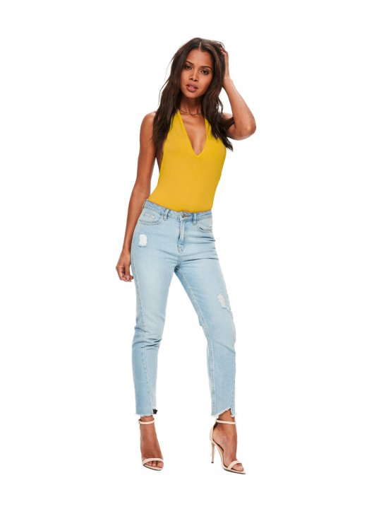 Missguided Mustard Plunge Bodysuit Clothing Missguided