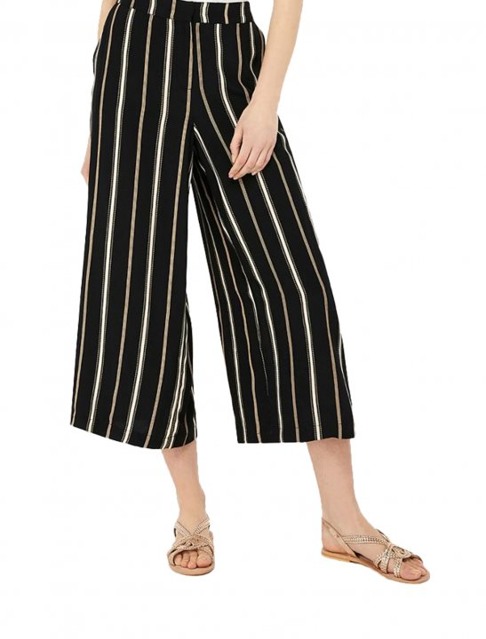 Black Stripe Crop Trousers - LSD