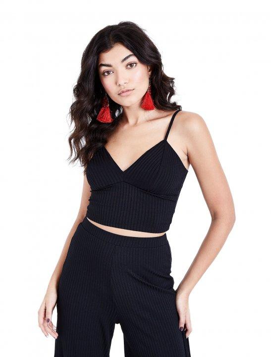 New Look Black Ribbed Bralet Clothing New Look