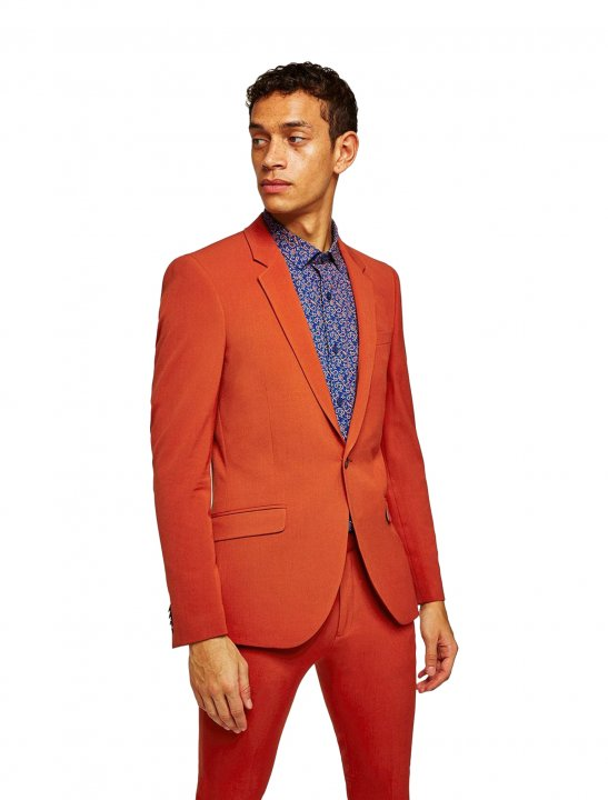 """Topman Brick Red Spray On Suit {""""id"""":5,""""product_section_id"""":1,""""name"""":""""Clothing"""",""""order"""":5} Topman"""